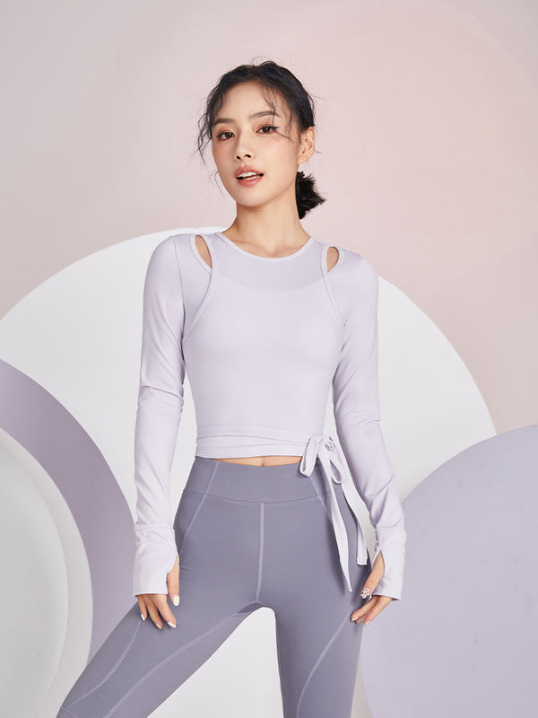 Sloli Layered ribbon yoga shirt