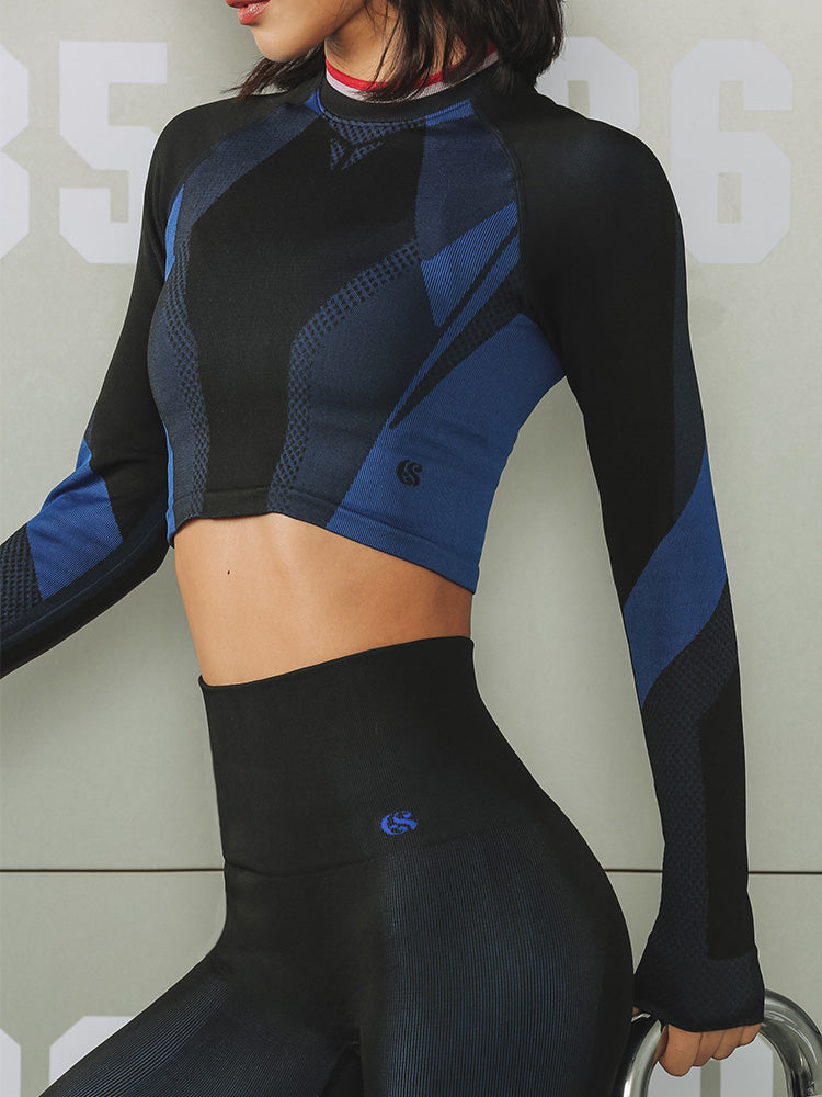 Sloli Color Blocked Sports Crop Shirt