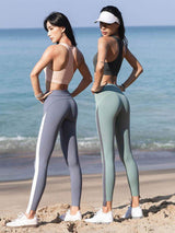 Sloli High Waist Color Schemes Capris Leggings