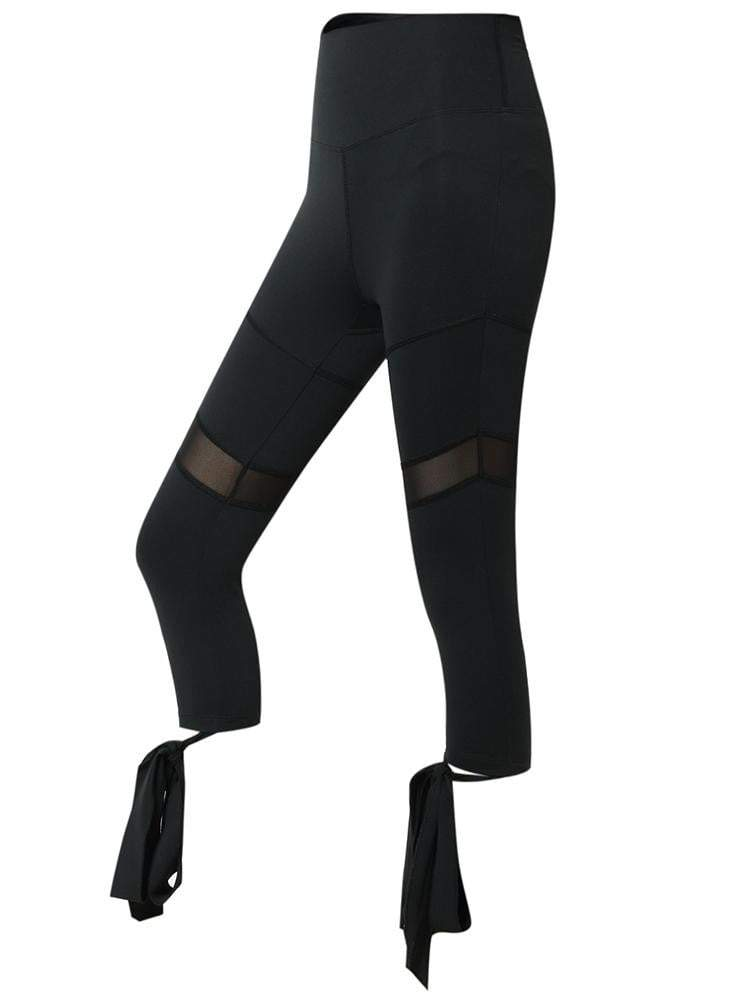 Sloli Capris Mesh Tights with Strap Hem XS / Black