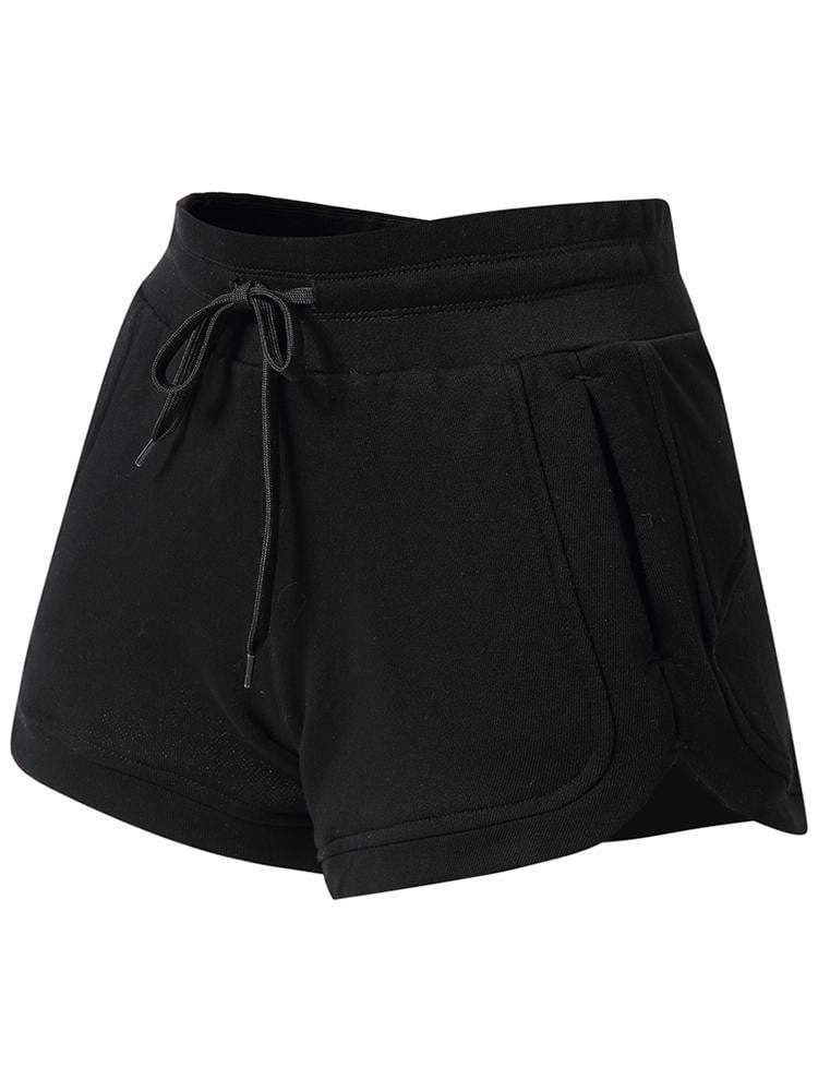 Sloli High Waist Cotton Sports Shorts XS / Black