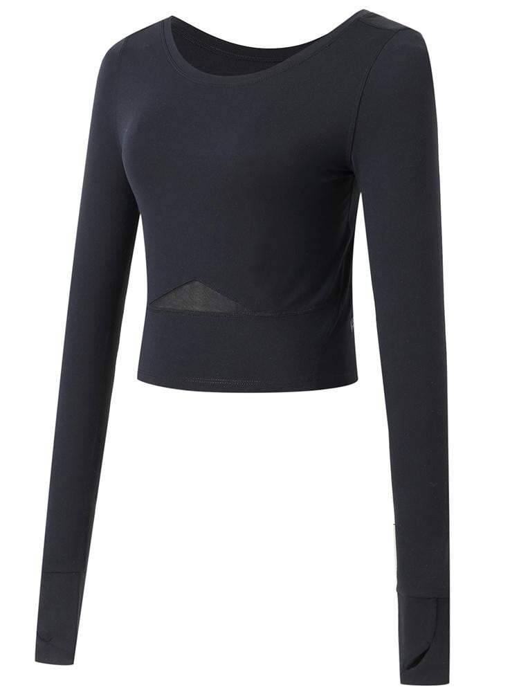 Sloli Long-Sleeved Sports Shirt Tops Yoga Shirt  XS / Black