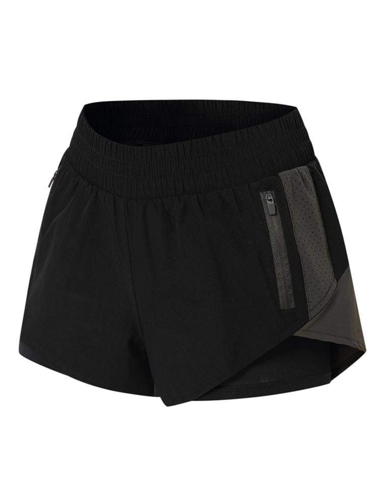 Sloli Color Scheme Sports Shorts with Inner Tights Integrated XS / Black