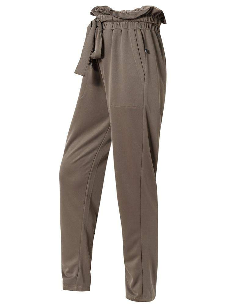 Sloli High Waisted Casual Long Pants XS / Brown