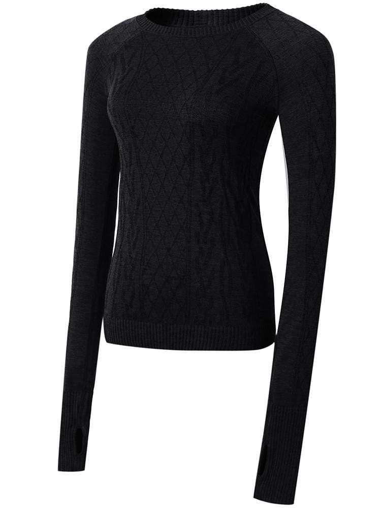 Sloli Round-Neck Knit Long Sleeve Sports Shirt S / Black