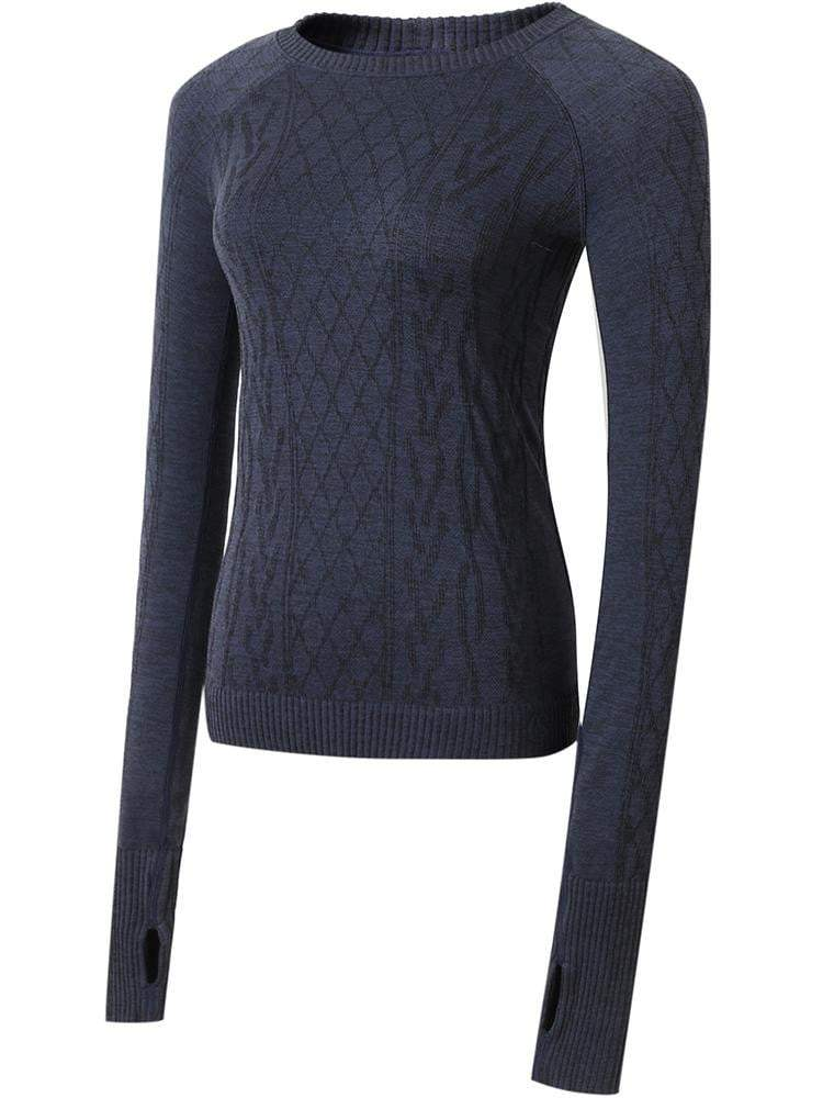 Sloli Round-Neck Knit Long Sleeve Sports Shirt S / Navy