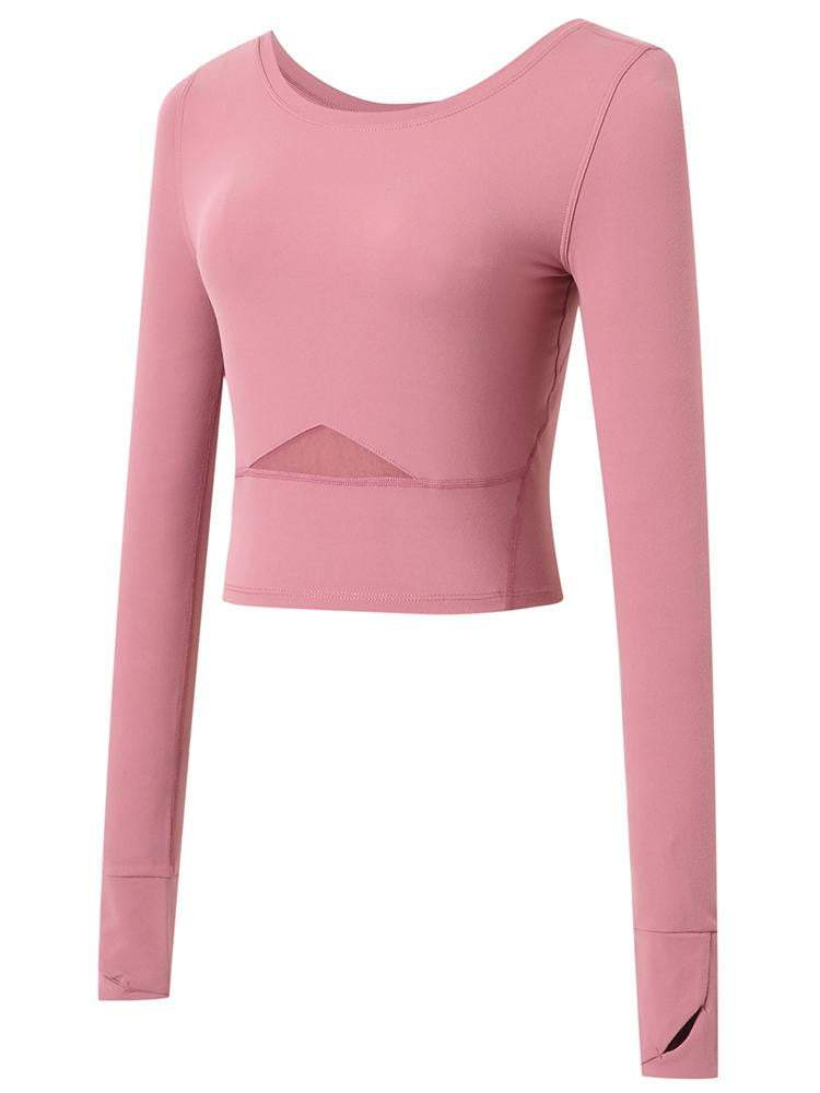 Sloli Long-Sleeved Sports Shirt Tops Yoga Shirt  XS / Rose