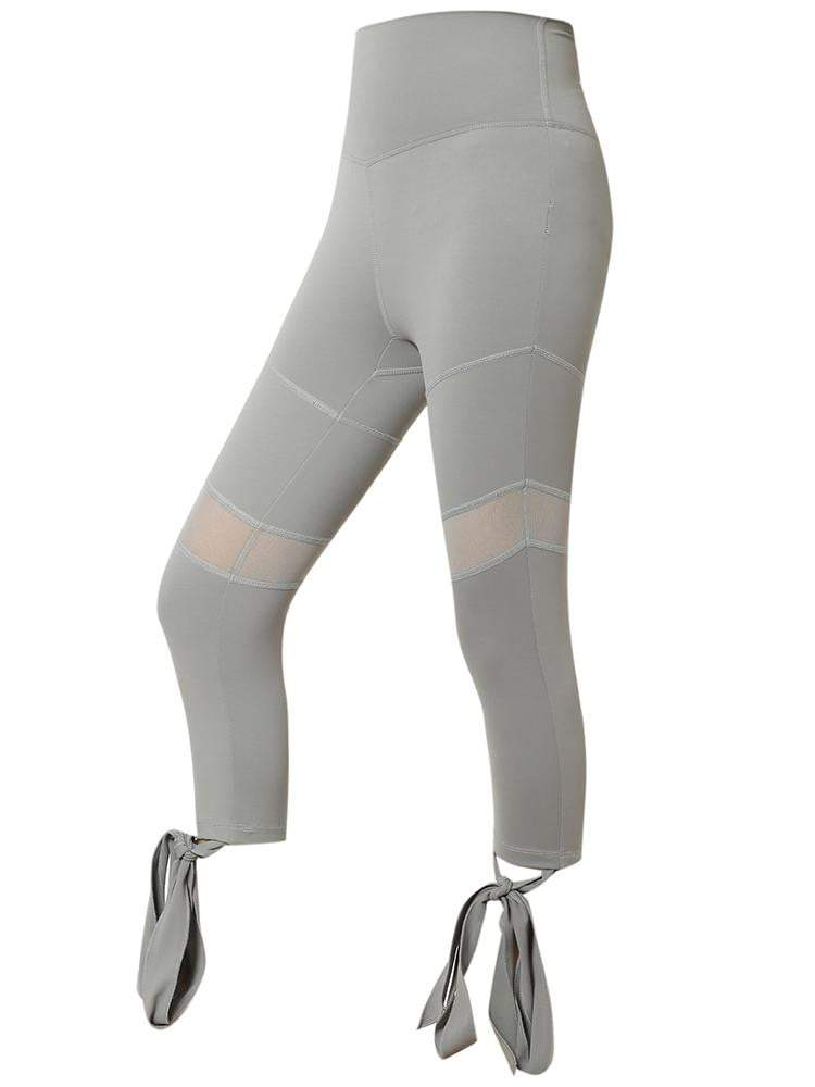 Sloli Capris Mesh Tights with Strap Hem XS / Gray