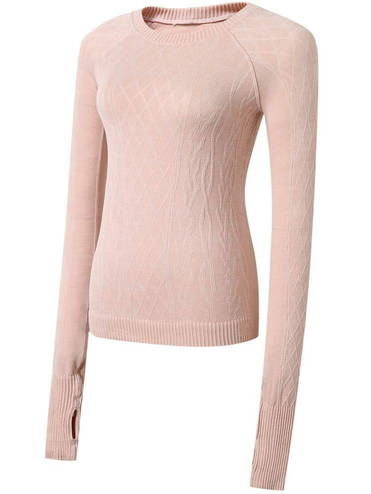 Sloli Round-Neck Knit Long Sleeve Sports Shirt S / Pink