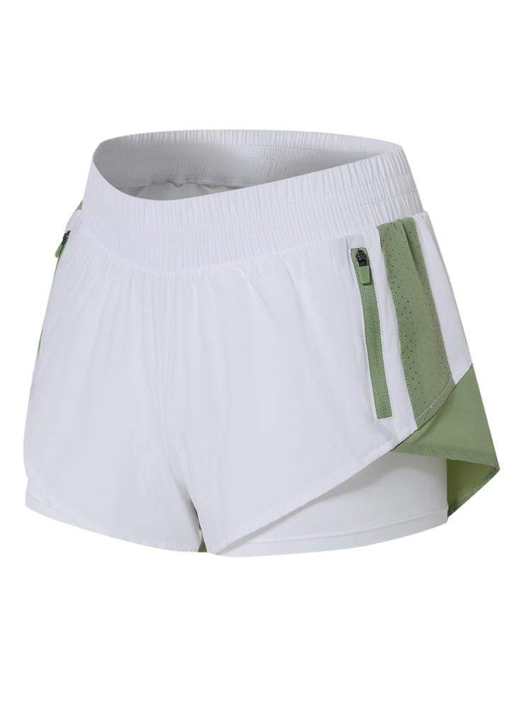 Sloli Color Scheme Sports Shorts with Inner Tights Integrated XS / White