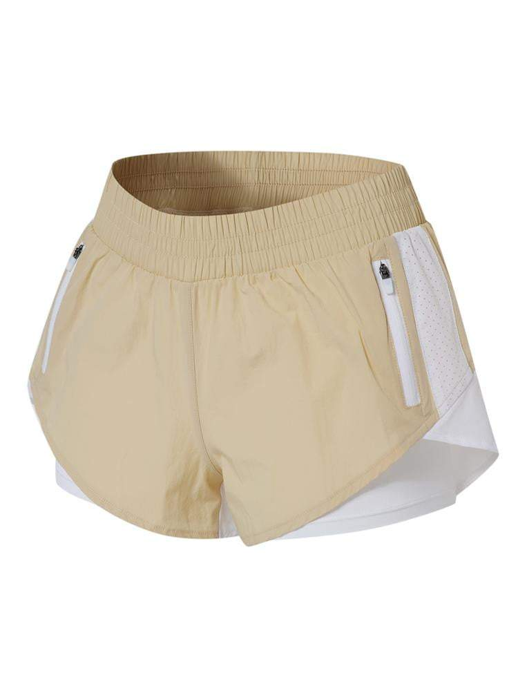 Sloli Color Scheme Sports Shorts with Inner Tights Integrated XS / Beige