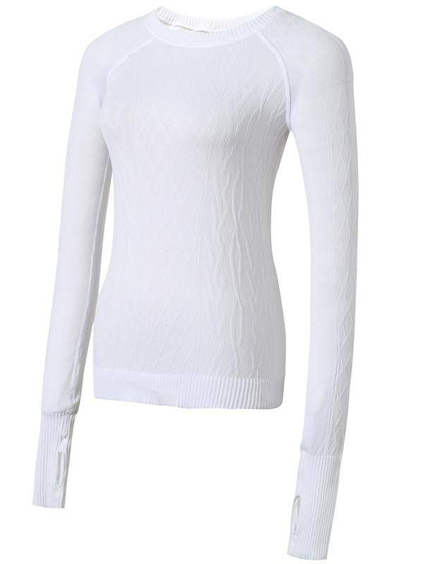 Sloli Round-Neck Knit Long Sleeve Sports Shirt S / White