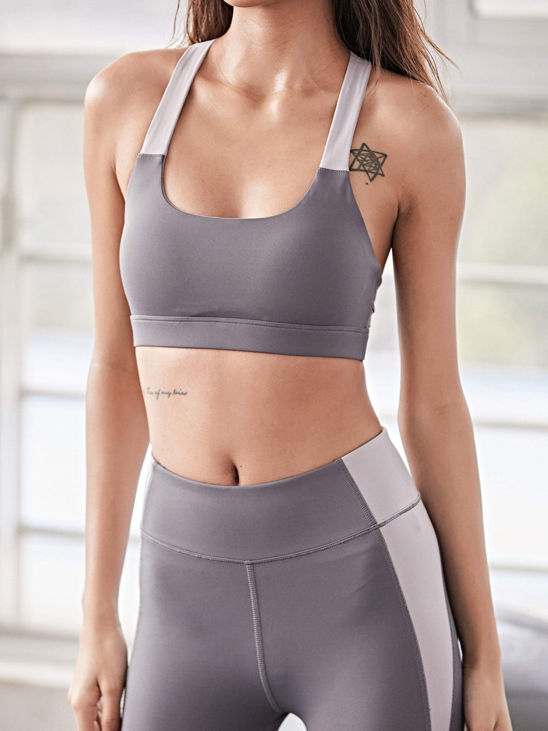 Sloli U-Shaped Color Scheme Fitness Mesh Bra