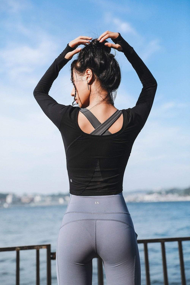 Sloli Long-Sleeved Sports Shirt Tops Yoga Shirt
