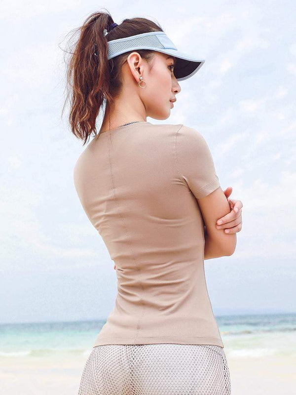 Pure Color Slim Sports Short Sleeves