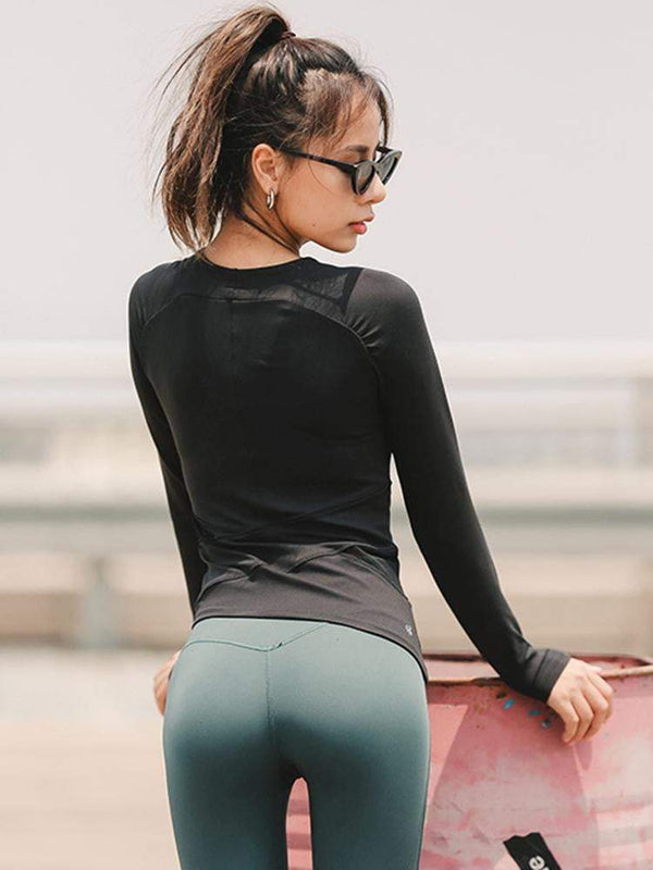 Women Round Neck Long Sleeve Training Yoga Clothes
