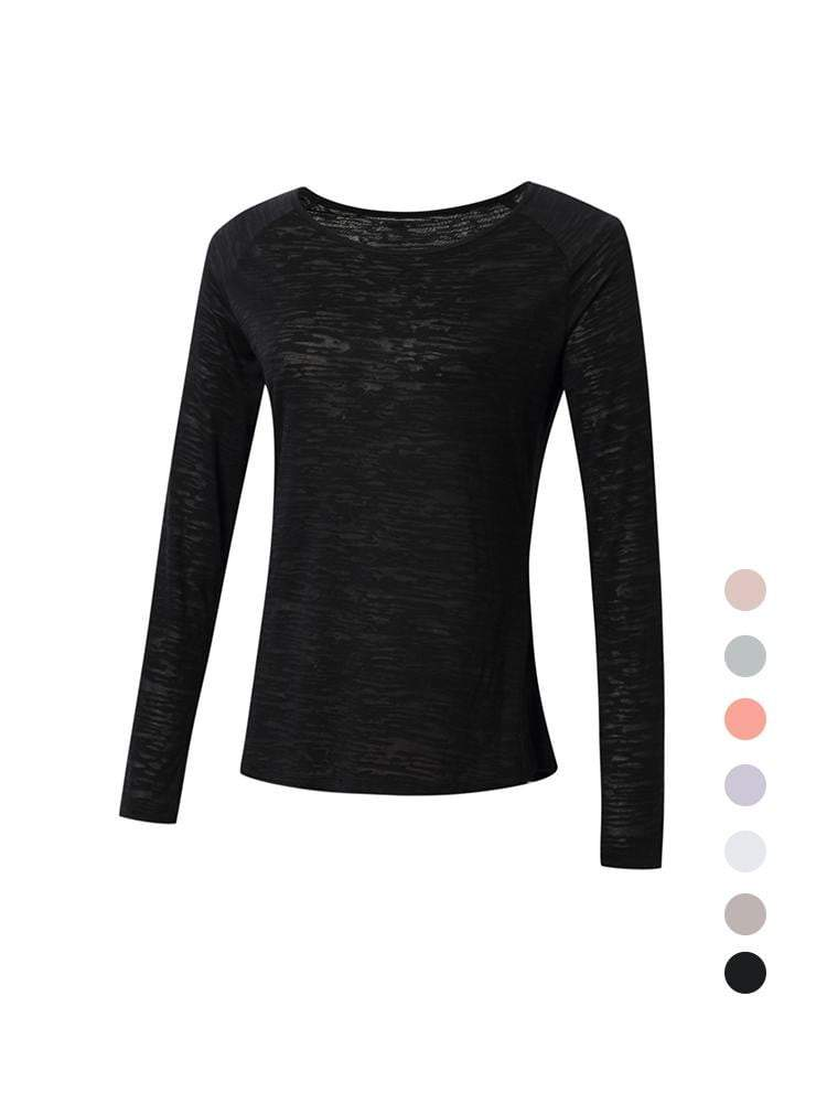 Sloli Long-Sleeved Mesh Sports Shirt XS / Black