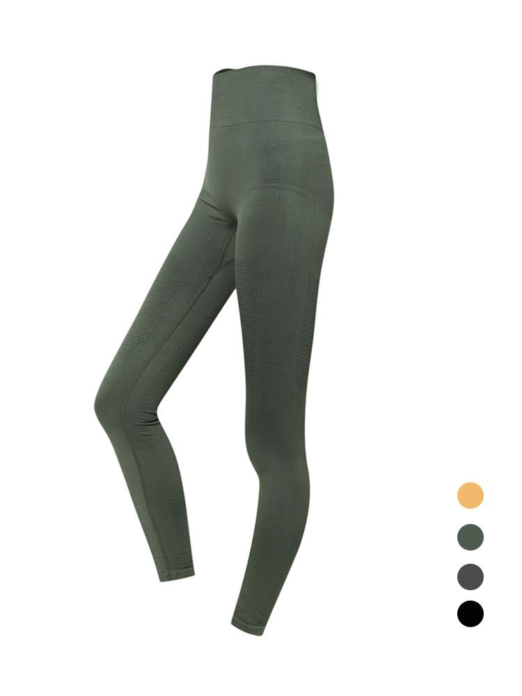 Sloli High Waist Elastic Sports Leggings S / Dark Green