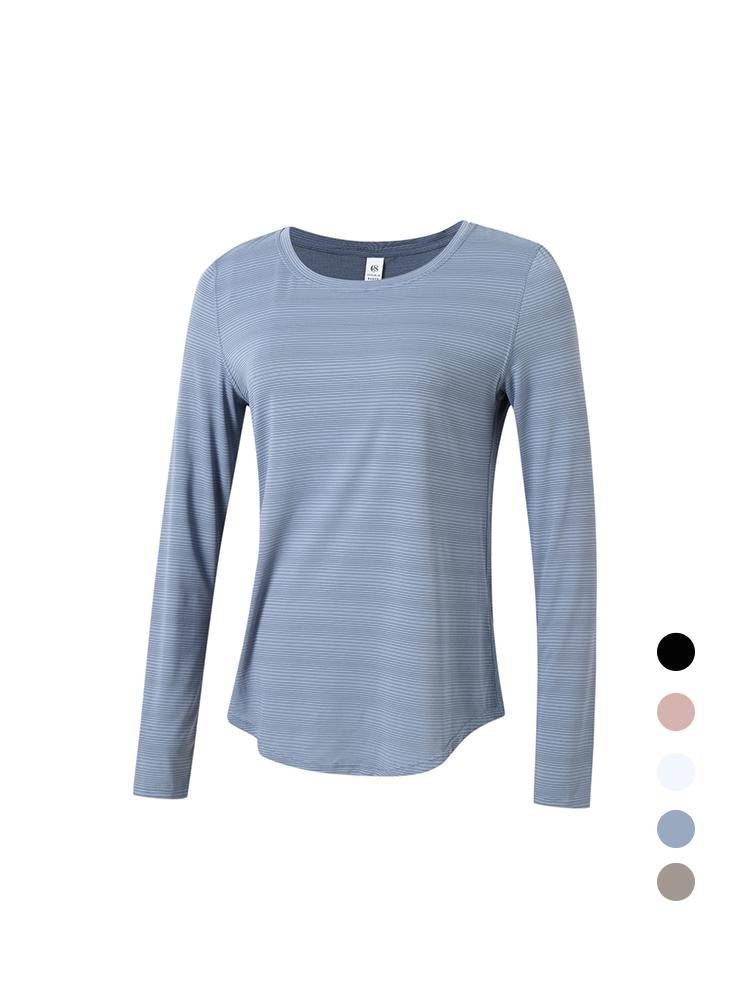Sloli Long Sleeve Sports Shirt with Natural  Line Pattern XS / Blue