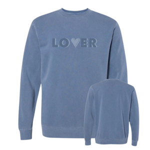 LOVER - Custom Dyed Sweatshirt - Pigment Slate Blue
