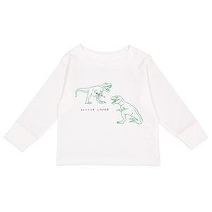 Littler Lover Dino -  Kids Long Sleeve Tee - White