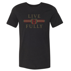 Live Fully - Holiday Stripes - Unisex/Men's Crew - Black