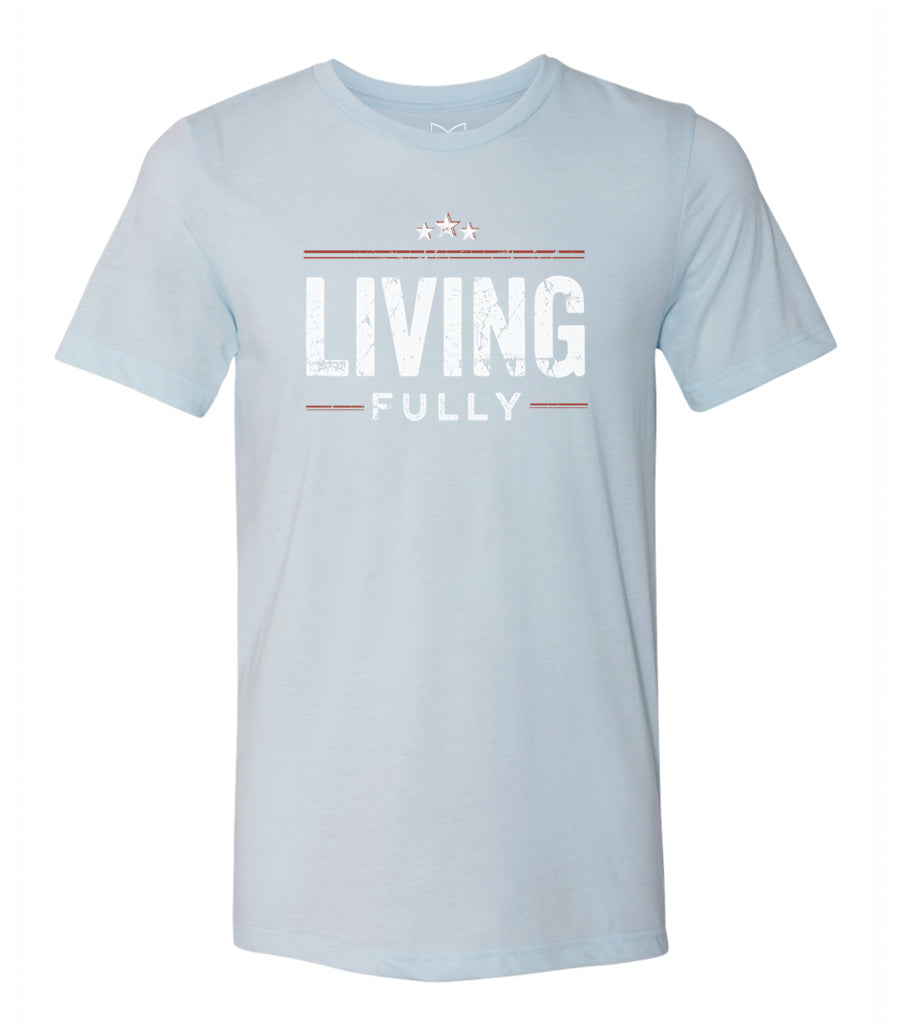 Live Fully - Living Fully Stars - Unisex/Men's Crew - Ice Blue