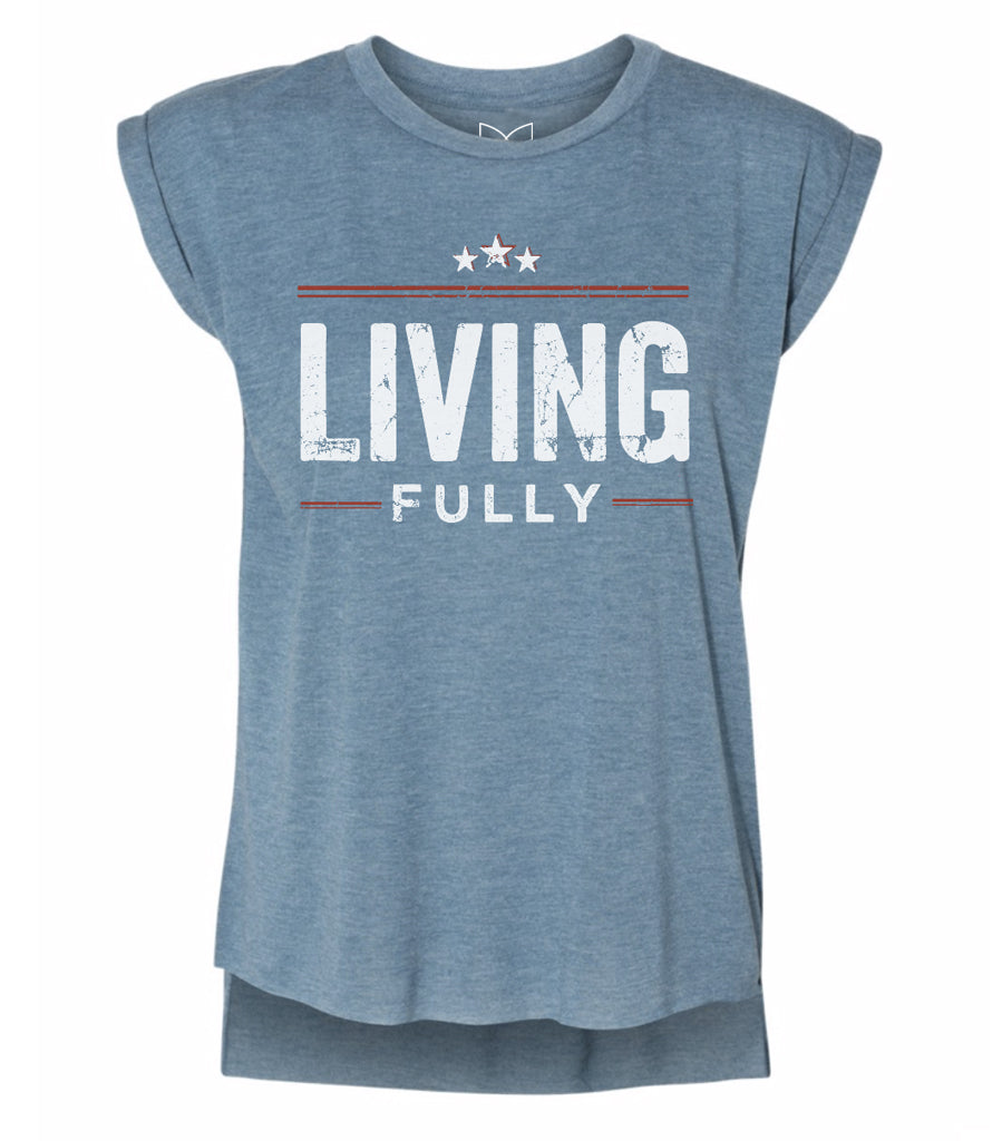 Live Fully -Living Fully Stars - Women's Flowy Muscle Tee - Deep Heather Teal