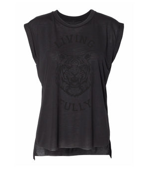Live Fully - Living Fully Tiger - Women's Flowy Muscle Tee - Black