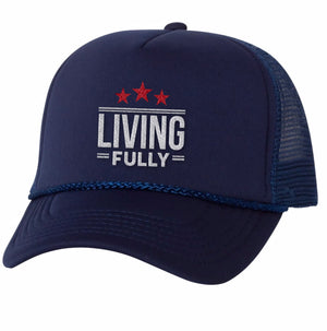 Live Fully - Living Fully Stars - Unisex Foam Trucker Cap - Navy with White/Red Embroidery
