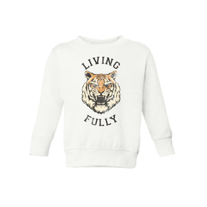 Live Fully - Living Fully Tiger - Toddler Crew Sweatshirt - White