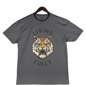 Live Fully - Living Fully Tiger - Youth Unisex Crew - Asphalt