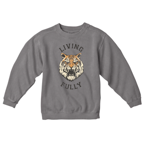 Live Fully - Living Fully Tiger - Youth Crew Sweatshirt - Grey