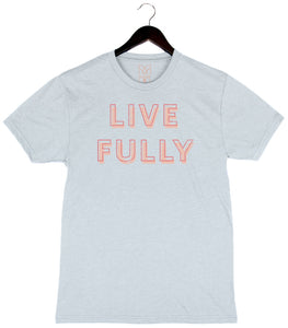 Live Fully - Unisex/Men's Triblend Crew - Ice Blue