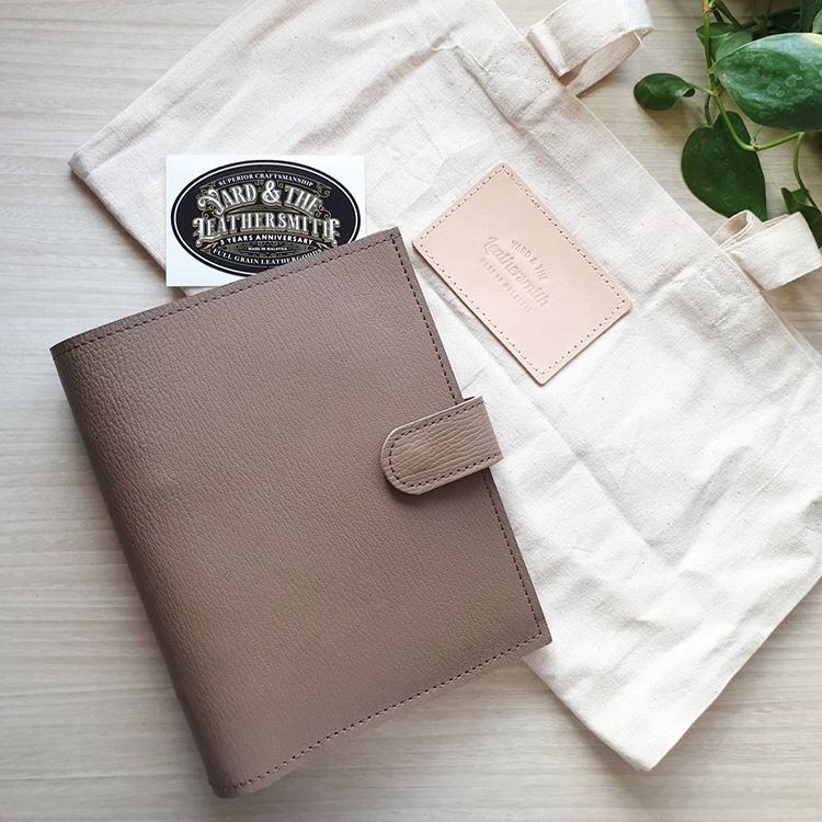 Taupe Chevre Demso Personal Leather Planner by Yard & The Leather Smith