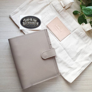Light Taupe Chevre Demso Personal Leather Planner by Yard & The Leather Smith