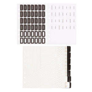 B6 PLANNER REFILL TAB SET WHITE/GOLD: ESSENTIALS PREORDER