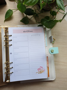 Meal Planner 2 Watercolor Tulips Refill for Kikki.K Kate Spade Filofax and other Planners