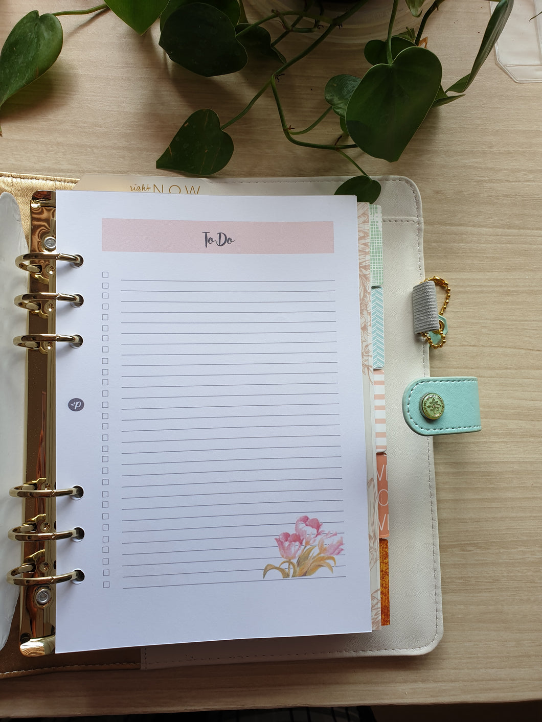 To Do Watercolor Tulips Planner Refill for Kikki.K Kate Spade Filofax and other Planners