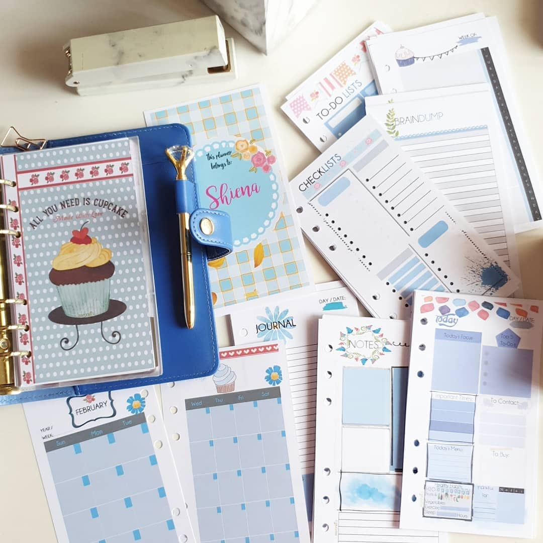 Pocket Blue Cupcake Individual Planner Refill