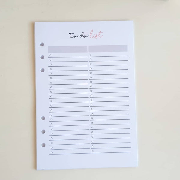 A5 Large Pink Gray Individual Planner Refill