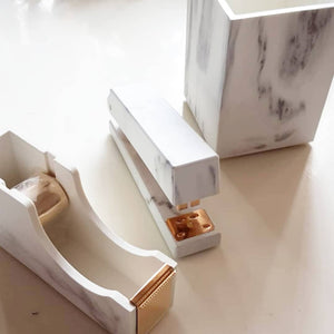 Gold Marble Stapler Pen Holder Tape Dispenser