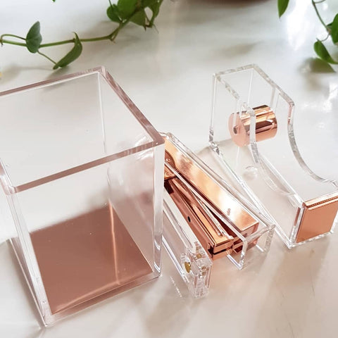 Rose Gold Clear Stapler Pen Holder Tape Dispenser