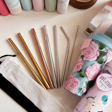 Load image into Gallery viewer, Milk Tea Straw + Black Velvet Pouch + Brush