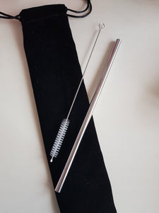 Straight Straw + Black Velvet Pouch + Brush