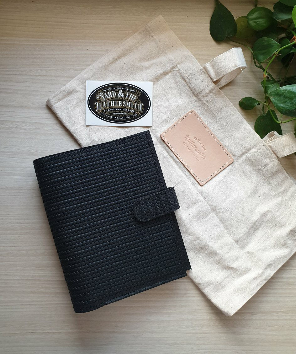Black Braided Personal Leather Planner by Yard & The Leather Smith