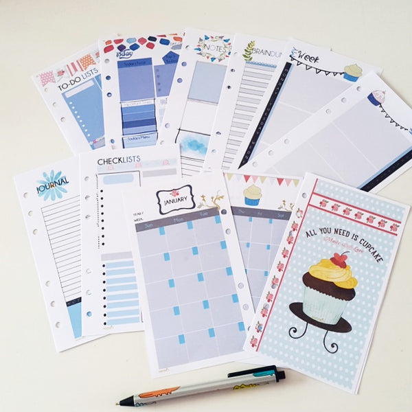 Personal Blue Cupcake Individual Planner Refill