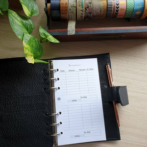 Income Planner Refill for Flight Attendant Kikki.K Kate Spade Filofax and other Planners