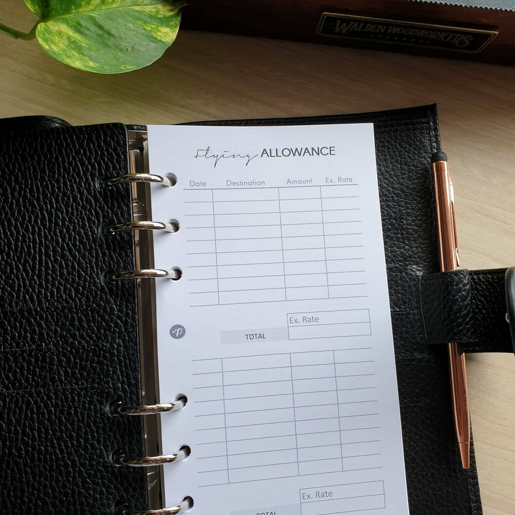 Flying Allowance Planner Refill for Flight Attendant Kikki.K Kate Spade Filofax and other Planners