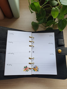 Floral Week on-2-pages Weekly Planner Refill for Kikki.K Kate Spade Filofax and other Planners